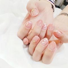 圆形粉色渐变亮片美甲图片