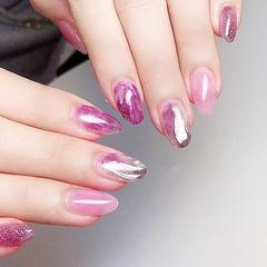 圆形粉色紫色晕染水波纹ins美图分享,想学美甲咨询微信mjbyxs6哦~美甲图片
