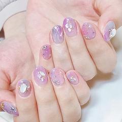 圆形紫色水波纹贝壳片ins美图分享,想学美甲咨询微信mjbyxs6哦~美甲图片