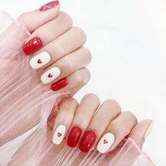 方圆形红色白色跳色亮片美甲图片
