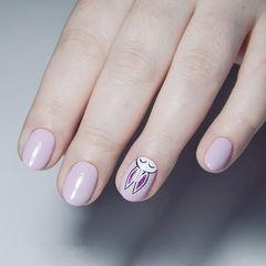 圆形香芋紫色手绘兔子可爱ins美图分享,想学美甲咨询微信mjbyxs6哦~美甲图片
