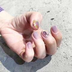 圆形香芋紫色渐变晕染短指甲ins美图分享,想学美甲咨询微信mjbyxs6哦~美甲图片