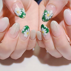 圆形绿色白色手绘花朵ins美图分享,想学美甲咨询微信mjbyxs6哦~美甲图片