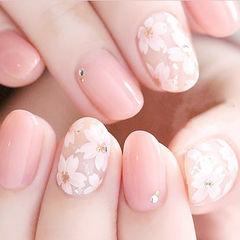 圆形粉色白色手绘花朵春天ins美图分享,想学美甲咨询微信mjbyxs6哦~美甲图片