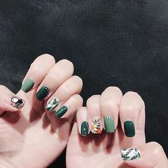 方圆形绿色手绘树叶美甲图片