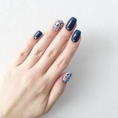 方圆形蓝色手绘豹纹美甲图片