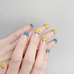 方圆形黄色灰色平法式简约美甲图片