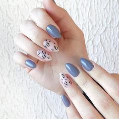 尖形蓝色白色手绘豹纹美甲图片