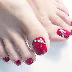 脚部红色钻新娘显白美甲图片