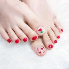 脚部红色花朵磨砂手绘美甲图片
