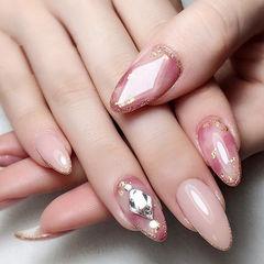 圆形粉色晕染宝石金箔钻ins美图分享,想学美甲咨询微信mjbyxs6哦~美甲图片