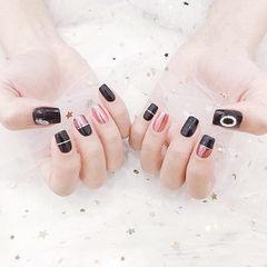 方圆形黑色粉色金银线钻美甲图片