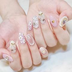 圆形白色粉色珍珠亮片钻樱桃ins美图分享,想学美甲咨询微信mjbyxs6哦~美甲图片