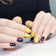 圆形黑色黄色线条跳色美甲图片