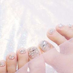 脚部银色钻夏天美甲图片