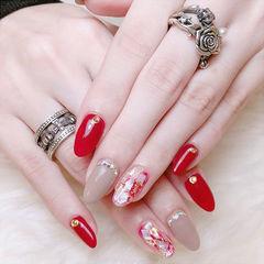 圆形裸色红色贝壳片金箔钻新娘显白美甲图片