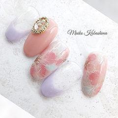 圆形粉色香芋紫色手绘晕染花朵钻法式日式美甲图片