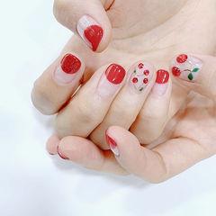 圆形红色亮片圆法式樱桃美甲图片