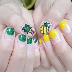 圆形绿色黄色手绘水果椰树圆法式夏天ins美图分享,想学美甲咨询微信mjbyxs6哦~美甲图片