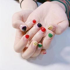 方圆形红色黄色绿色手绘笑脸圆法式跳色美甲图片