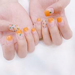方圆形橙色手绘水果夏天圆法式美甲图片