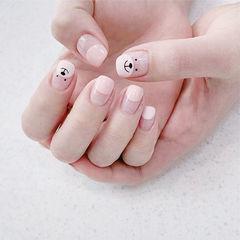 方圆形粉色手绘可爱圆法式学生美甲图片