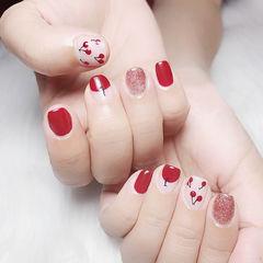 圆形红色粉色手绘樱桃圆法式美甲图片