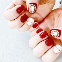 方圆形红色白色金银线钻新娘美甲图片