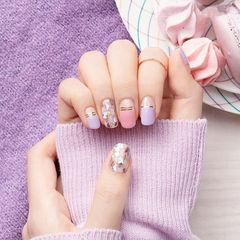 方圆形粉色香芋紫色金银线贝壳片平法式美甲图片