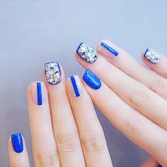方圆形蓝色钻韩式美甲图片