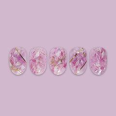 圆形粉色晕染手绘金银线日式美甲图片
