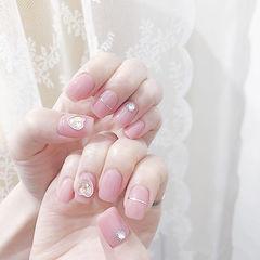 方圆形粉色金银线钻简约美甲图片