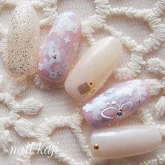 圆形粉色裸色手绘花朵日式美甲图片