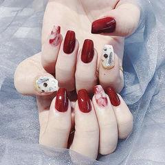 方圆形红色白色晕染钻ins美图分享,想学美甲咨询微信mjbyxs6哦~美甲图片