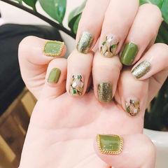 方圆形绿色晕染贝壳片金属饰品美甲图片