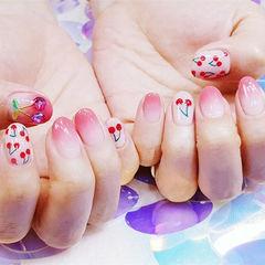 圆形粉色渐变手绘樱桃钻美甲图片