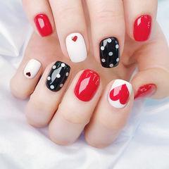 方圆形红色黑色白色跳色波点心形ins美图分享,想学美甲咨询微信mjbyxs6哦~美甲图片