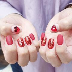 方圆形红色白色钻菱形亮片磨砂美甲图片