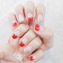 方圆形红色白色银色手绘雏菊心形法式ins美图分享,想学美甲咨询微信mjbyxs6哦~美甲图片
