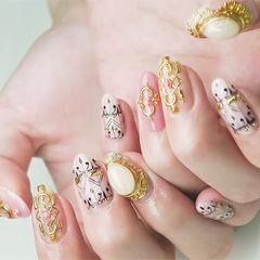 圆形粉色裸色白色手绘金属饰品日式美甲图片