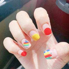 方圆形红色黄色手绘彩虹圆法式夏天美甲图片