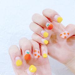 方圆形橙色黄色手绘水果圆法式夏天美甲图片