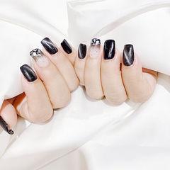 方圆形黑色猫眼贝壳片ins美图分享,想学美甲咨询微信mjbyxs6哦~美甲图片
