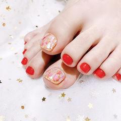 脚部红色贝壳片新娘显白美甲图片