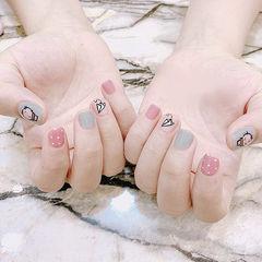 圆形粉色灰色手绘可爱短指甲ins美图分享,想学美甲咨询微信mjbyxs6哦~美甲图片