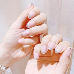 圆形裸色钻法式简约新娘美甲图片