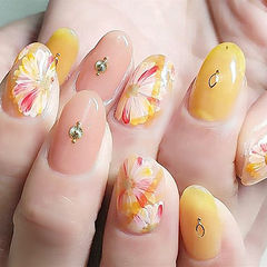 圆形黄色裸色红色手绘花朵金属饰品日式美甲图片