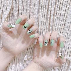 方圆形绿色黑色白色手绘小狗可爱美甲图片
