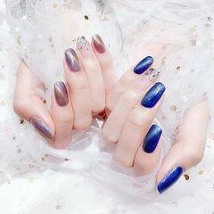 方圆形紫色蓝色猫眼钻ins美图分享,想学美甲咨询微信mjbyxs6哦~美甲图片