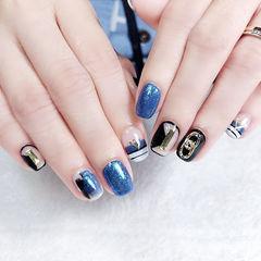 方圆形蓝色黑色条纹金属饰品美甲图片